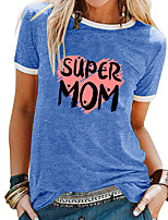 cheap -Women's T shirt Heart Letter Patchwork Print Round Neck Tops Basic Basic Top White Black Blue