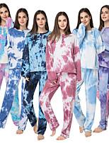 cheap -Adults' Kigurumi Pajamas Tie dye Onesie Pajamas Flannel Fabric Light Blue Cosplay For Men and Women Animal Sleepwear Cartoon Festival / Holiday Costumes
