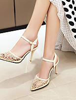 cheap -Women's Sandals Stiletto Heel Pointed Toe Mesh PU Solid Colored Floral Black Pink Beige