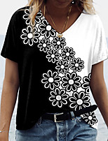 cheap -Women's T shirt Graphic Color Block Floral Print V Neck Tops Basic Basic Top Black
