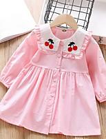 cheap -Kids Little Girls' Dress Fruit Print Red Blushing Pink Knee-length Long Sleeve Cute Dresses Spring &  Fall Regular Fit 2-6 Years