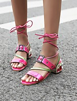 cheap -Women's Sandals Boho Bohemia Beach Roman Shoes Gladiator Sandals Chunky Heel Round Toe PU Synthetics Pink Green