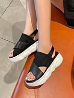 cheap -Women's Sandals Platform Open Toe Microfiber Elastic Fabric Solid Colored White Black