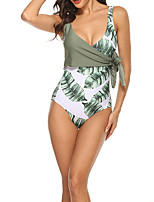 cheap -Women's One Piece Swimsuit Swimwear Bodysuit Breathable Quick Dry Sleeveless Swimming Surfing Water Sports Floral / Botanical Summer