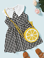 cheap -Kids Toddler Little Girls' Dress Check Print Black Knee-length Sleeveless Active Dresses Summer Regular Fit 2-8 Years