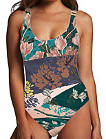cheap -Women's One Piece Monokini Swimsuit Tummy Control Print Color Block Floral Green Swimwear Bodysuit Strap Bathing Suits New Fashion Sexy