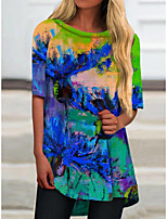 cheap -Women's T Shirt Dress Tee Dress Short Mini Dress Blue Half Sleeve Print Color Block Print Spring Summer Round Neck Casual 2021 S M L XL XXL 3XL