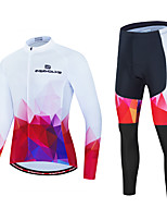 cheap -Men's Long Sleeve Cycling Jersey with Tights Red and White Bike Sports Geometic Clothing Apparel / Micro-elastic / Athleisure