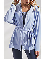 cheap -Women's Solid Colored Sporty Spring & Summer Hoodied Jacket Regular Sport Coat Tops Blue