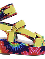 cheap -Women's Sandals Wedge Heel Round Toe Wedge Sandals Casual Daily Walking Shoes Faux Leather Solid Colored Yellow Red Green
