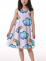 cheap -Kids Little Girls' Dress Graphic Ruched Print White Knee-length Sleeveless 3D Print Cute Dresses Loose 4-13 Years