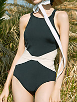 cheap -Women's One Piece Swimsuit Patchwork Padded Swimwear Bodysuit Swimwear White Black Breathable Quick Dry Comfortable Sleeveless - Swimming Surfing Water Sports Summer / Spandex