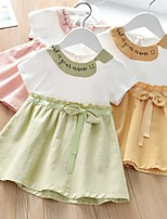cheap -Kids Little Girls' Dress Letter Causal Ruched Yellow Blushing Pink Light Green Above Knee Short Sleeve Regular Sweet Dresses Children's Day Spring & Summer Regular Fit 2-8 Years