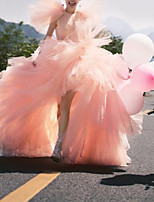 cheap -Ball Gown Luxurious Elegant Engagement Prom Dress Jewel Neck Short Sleeve Court Train Tulle with Sash / Ribbon Tier 2021