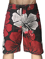 cheap -Men's Swim Shorts Swim Trunks Board Shorts Quick Dry Breathable Drawstring - Swimming Surfing Water Sports Floral / Botanical Grid Pattern Summer