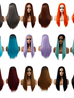 cheap -Synthetic Wig Natural Straight Layered Haircut Wig Medium Length Light Blonde Light Brown Brown / White Wine Red Pink+Red Synthetic Hair Women's Cosplay Party Fashion Red Blue