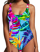 cheap -Women's One Piece Monokini Swimsuit Tummy Control Print Tropical Leaf Blue Swimwear Bodysuit Strap Bathing Suits New Fashion Sexy