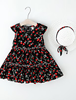 cheap -Kids Little Girls' Dress Floral Print Black Red Knee-length Sleeveless Regular Sweet Dresses Summer Loose 2-6 Years