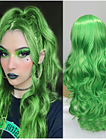cheap -Synthetic Wig Deep Wave Middle Part Wig Medium Length Mint Green Synthetic Hair Women's Cosplay Party Fashion Green