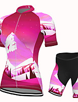 cheap -Women's Short Sleeve Cycling Jersey with Shorts Spandex Red Bike Breathable Quick Dry Sports Nature & Landscapes Mountain Bike MTB Road Bike Cycling Clothing Apparel / Stretchy / Athletic