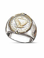 cheap -united states of america spirit symbol eagle honor quarter dollar national flag west ethnic style ring for men viking eagle ring stainless steel ring (11)