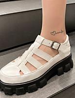 cheap -Women's Sandals Platform Round Toe Microfiber Buckle Solid Colored White Black