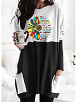 cheap -Women's T shirt Graphic Floral Letter Long Sleeve Pocket Round Neck Tops Basic Basic Top Black Orange Khaki