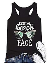 cheap -womens resting beach face tank racerback summer fitness workout tanks tops t-shirts vest cami black