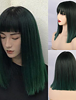 cheap -Synthetic Wig Natural Straight Neat Bang Wig Medium Length A2 Synthetic Hair Women's Cosplay Party Fashion Black Green Blunt Cut Bob
