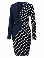 cheap -sfe-women-blazer dress sexy stripe patchwork two button long sleeve package hip elegant business cocktail suit… navy