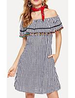 cheap -Women's A Line Dress Knee Length Dress Dusty Blue Short Sleeve Print Check Print Summer Off Shoulder Casual Cotton 2021 S M L XL