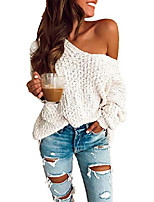 cheap -Women's Solid Color Sweater Long Sleeve Sweater Cardigans Notched White