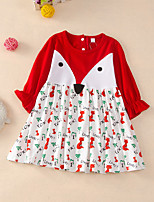 cheap -Kids Little Girls' Dress Cartoon Ruffle Print Red Long Sleeve Active Dresses Summer Regular Fit 2-6 Years