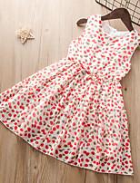 cheap -Kids Little Girls' Dress Graphic Sundress Print Red Sleeveless Active Dresses Summer Regular Fit 3-12 Years