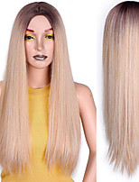 cheap -Long Straight Synthetic Wig Mixed Brown and Blonde Long Wigs for White /Black Women Middle Part Nature Wigs