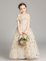 cheap -Princess / Ball Gown Off Shoulder Ankle Length Tulle Junior Bridesmaid Dress with Ruffles / Ruching