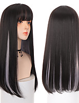 cheap -Synthetic Wig Natural Straight Layered Haircut Neat Bang Wig 22 inch Light Brown Black Black / Brown Orange Synthetic Hair Women's Cosplay Party Fashion Black Brown