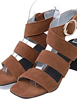 cheap -Women's Sandals Chunky Heel Square Toe PU Synthetics Almond Light Brown Black