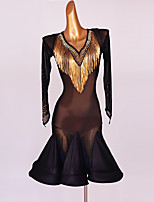 cheap -Latin Dance Dress Beading Crystals / Rhinestones Sequins Women's Performance Long Sleeve Chinlon Mesh