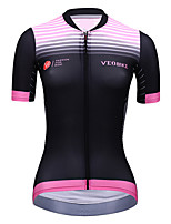 cheap -Women's Short Sleeve Cycling Jersey Summer Spandex Polyester Pink Stripes Bike Top Mountain Bike MTB Road Bike Cycling Breathable Reflective Strips Back Pocket Sports Clothing Apparel / Stretchy