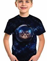 cheap -Kids Boys' T shirt Short Sleeve Cat Animal Print Children Tops Active Regular Fit Blue 5-12 Years