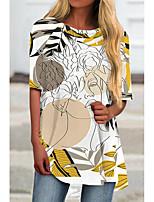 cheap -Women's T Shirt Dress Tee Dress Short Mini Dress Yellow Half Sleeve Print Color Block Print Spring Summer Round Neck Casual 2021 S M L XL XXL 3XL