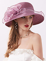 cheap -Vintage Style Elegant Tulle / Straw Hats / Headwear / Straw Hats with Appliques / Ruching / Split Joint 1 Piece Casual / Holiday Headpiece