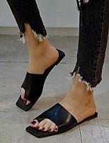 cheap -Women's Sandals Boho Bohemia Beach Flat Heel Square Toe Rubber Solid Colored Black Khaki Beige