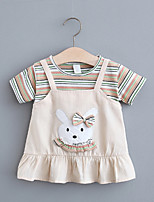 cheap -Toddler Little Girls' Dress Cartoon Striped Print Yellow Khaki Green Short Sleeve Regular Dresses Summer Loose 2-4 Years