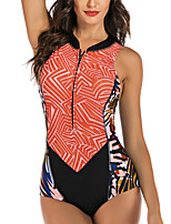cheap -Women's One Piece Monokini Swimsuit Zipper Slim Color Block Geometric Black Swimwear Padded Bodysuit High Neck Bathing Suits New Fashion Sexy