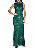 cheap -Women's A Line Dress Maxi long Dress Green Sleeveless Solid Color Color Block Sequins Patchwork Summer Round Neck Casual 2021 S M L XL