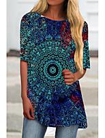 cheap -Women's T Shirt Dress Tee Dress Short Mini Dress Blue Gray Light Blue Half Sleeve Floral Color Block Print Spring Summer Round Neck Casual 3D Print S M L XL XXL 3XL