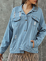 cheap -Women's Solid Colored Basic Spring &  Fall Denim Jacket Regular Daily Long Sleeve Denim Coat Tops Blue