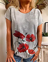 cheap -Women's T shirt Graphic Flower Print Round Neck Tops Basic Basic Top Gray